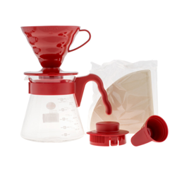 Zestaw Hario V60 Pour Over Kit Red - drip + serwer + filtry