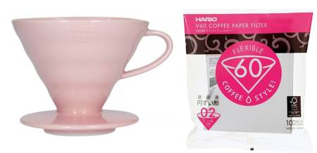 Hario ceramiczny Drip V60-02 Różowy + Filtry papierowe Hario V60-02 100szt