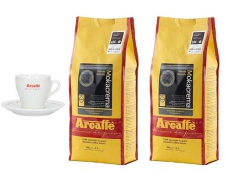 Kawa ziarnista Arcaffe Mokacrema 2x1kg + Porcelanowa filiżanka Arcaffe ze spodkiem do cappuccino