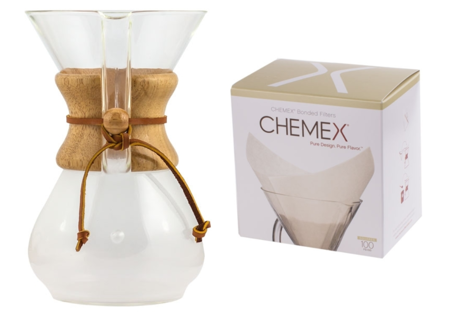 Zestaw Chemex Classic Coffee Maker 6 filiżanek + białe filtry papierowe kwadratowe do 6, 8, 10 filiżanek 100 szt
